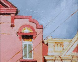 """""""Pretty Peachy Pink"""" 2020. Oil on canvas. 17x13cm. Those lovely pink buildings in Darling Street! SOLD"""