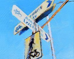 """Either Way"" 2020. Oil on canvas. 17x13cm. Signs of the inner west, looking around you see them everywhere - but this one on this say caught the light."