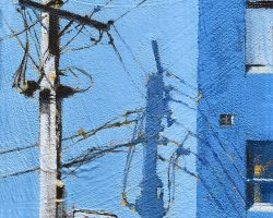"""One Way"" 2020. Oil on canvas. 17x13cm. On a corner on Darling Street, Balmain stands an unremarkable blue/grey building. But its plain face is the perfect canvas for shadow patterns, on any sunny afternoon, made by the power pole on the corner. SOLD"