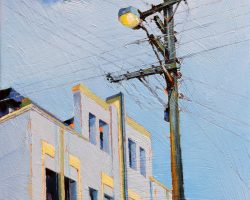 """The Picture Show"" 2020. Oil on canvas. 33x33cm. The Balmain Bijou has undergone many changes over its long life but the power poles has always remained the same. SOLD"