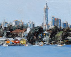 """""""Waterview Workshops IV"""" 2020. Oil on canvas. 13x17cm. This is number five! This view from Ballast Point and Mort Bay is a classic, with the cute little Workshops (actually they are not so small!) and Barangaroo behind is very popular. I will paint more versions of this in the new year. SOLD"""