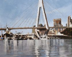 """""""Anzac with Oxley"""" 2021. Oil on canvas. 33x33cm. Once upon a time, before Barangaroo, the SS John Oxley was undergoing a major restoration on the shores of Blackwattle Bay.  The Heritage dockyard at Rozelle Bay is one of the last 'industrial waterfront' sites of Sydney harbour. John Oxley (launched 1927) is the last surviving original coastal steamship in Australia. Restoration is being carried out by Sydney Heritage Fleet."""