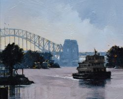"""Mort Bay Morning"" 2021. Oil on canvas. 33x33cm. A quiet little pocket of Mort Bay as the Siruis approaches Balmain Wharf. SOLD"