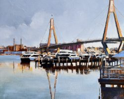 """Reflections of Rozelle"" 2021. Oil on canvas. 33x33cm. Looking towards Rozelle over Blackwattle Bay from the Sydney Fish Markets at Pyrmont and beyond the Anzac Bridge, you see the Glebe Island grain silos (in use from 1921-90) and White Bay Power Station. SOLD"