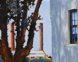 """""""Looking through Trees"""" 2021. Oil on canvas. 13x17cm. An afternoon glimpse of White Bay power station between a tree and a house in Rozelle. The sun catches one of the stacks making it bright orange."""