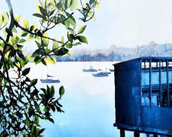 """""""Down at Dawnies"""" 2021. Oil on canvas. 76x76cm. Peeking around the side of the old dressing sheds at Balmain's Dawn Fraser Swimming Pool. All is quiet and still as the day comes to an end. The boats are safe on their moorings and everyone has gone home, but this is a most beautiful serene time of the day. SOLD"""