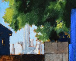 """""""No Escaping"""" 2021. Oil on canvas. 15x15cm. I have painted this before, in 2018 when the fence was under construction - No Parking was hand written on the wall and there was no Barangaroo. The tree was there but it was a little smaller (reworked)."""