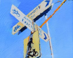 """""""Either Way"""" 2021. Oil on canvas. 17x13cm. Signs of the inner west, looking around you see them everywhere - but this one on this say caught the light (reworked)."""