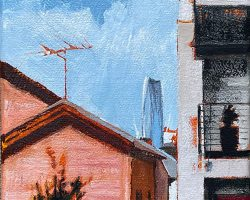 """""""In Our Backyard"""" 2021. Oil on canvas. 17x13cm. Old cottages and new terraces still have the television antenna in common, but sometimes in the backyard the view of trees is replaced by... SOLD"""