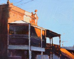 """""""Balmain Looking like Broken Hill"""" 2021. Oil on canvas. 15x15cm. This is a favourite corner in Balmain because there is always something new to see here. Very late one afternoon this was like you were in an outback town, not on the Balmain peninsula! ON HOLD"""