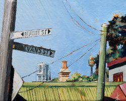 """""""Beattie Evans & Beyond"""" 2021. Oil on canvas. 13x17cm. A couple of crooked power poles, tin roofs, a chimney and a part of the city beyond. SOLD"""