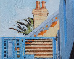 """""""Looking Up Down Wharf"""" 2021. Oil on canvas. 15x15cm. Contrasting hard and soft shapes (old and new architecture) in Birchgrove. This is about shape."""