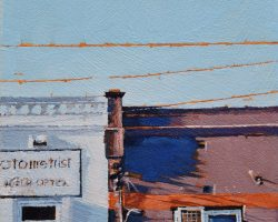 """""""Shadow Blues"""" 2021. Oil on canvas. 15x15cm. These old buildings on Darling Street, once ornate I think, have had many facade changes and now show their bald faces. They are blank canvases with some lovely shadows from the power poles. Many have undergone more changes of late, like this brown one. It's been repainted and now the rich colours are gone. SOLD"""