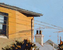"""""""Theodore's Ghost"""" 2021. Oil on canvas. 15x15cm. Really just some 'ghost' shadows from a power pole on a yellow wall. But the wall with its shadows, the tree and the chimney were really nice."""