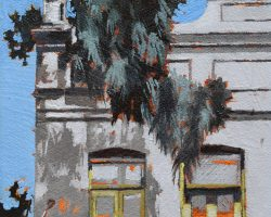 """""""Three Four Six"""" 2021. Oil on canvas. 17x13cm. This lovely little terrace on Darling Street is not often noticed but it's very beautiful hiding behind the tree that leaves some great shadows on it's walls. SOLD"""