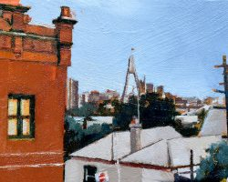 """""""City View Over Mullens"""" 2021. Oil on canvas. 13x17cm. Over the rooftops looking to the Anzac Bridge from Balmain. The big red terrace gives the impression of looking over at everything. SOLD"""