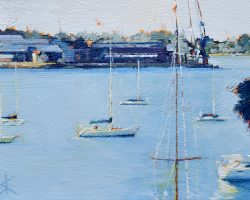 """""""Over Cockatoo Way"""" 2021. Oil on canvas. 13x17cm. On a calm afternoon, this was just staring out at Cockatoo Island from beautiful Birchgrove. SOLD"""