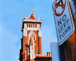 """""""Jane Street"""" 2021. Oil on canvas. 15x15cm.  Clean geometry and the light on the sign make the church tower look even more majestic against a clear blue sky. SOLD"""