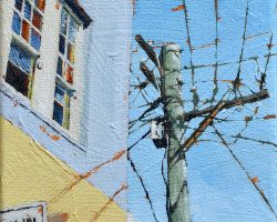 """""""Shapes & Angles"""" 2021. Oil on canvas. 15x15cm. One of the best power poles on Darling Street! This is looking up from a whole new angle. This one may be a study for a larger work. SOLD"""
